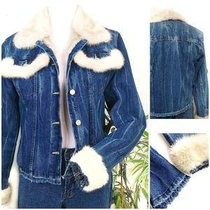 Amazing Custom Made Fur Lined Denim Jean Jacket